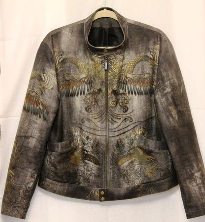 Куртка джинсовая мужская Драконы Роберто Кавалли ручной работы на заказ