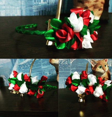 Ободок с розами канзаши ручной работы на заказ