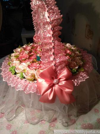 Корзина из 55атласных роз ручной работы на заказ