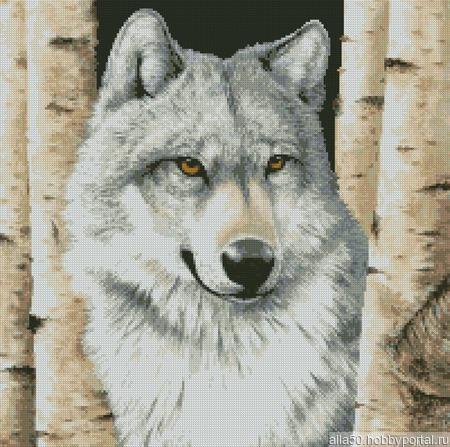 Схема вышивки Волк между берез ручной работы на заказ
