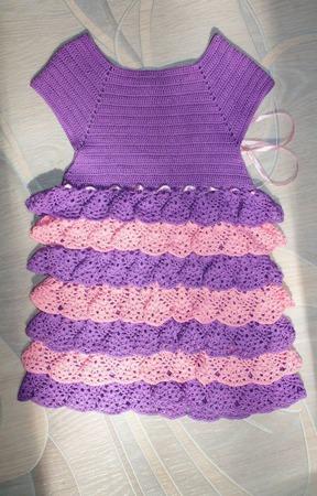 Платье крючком  для девочки ручной работы на заказ