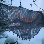 Ажурная Шаль из пряжи Кауни Крылья чайки