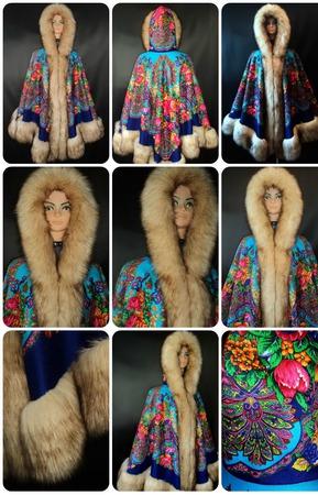 Пальто-Пончо из шалей ручной работы на заказ