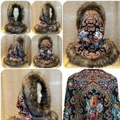 Капор из русского платка с мехом, зимний