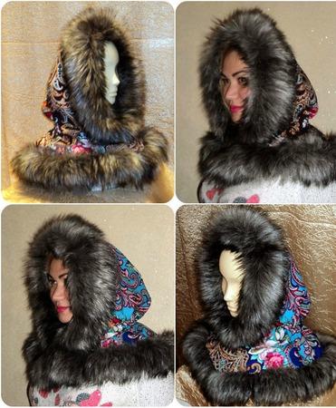 Капор из русского платка с мехом, зимний ручной работы на заказ
