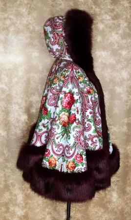 Пальто-Пончо из русской шали ручной работы на заказ