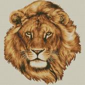 Голова льва. Схема вышивки крестом