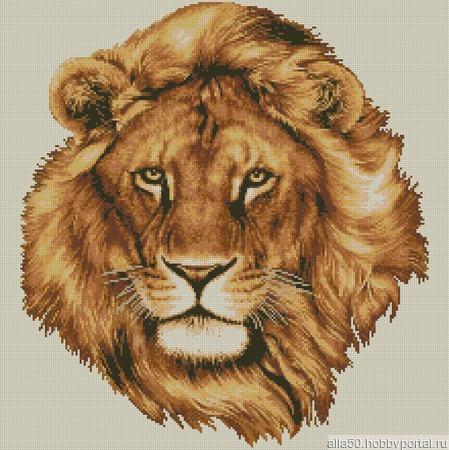 Голова льва. Схема вышивки крестом ручной работы на заказ
