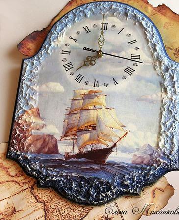 "Часы ""Море"" ручной работы на заказ"
