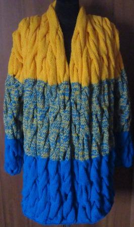 """Кардиган """"Сиреневая дымка"""" вязаный  косами градиент ручной работы на заказ"""
