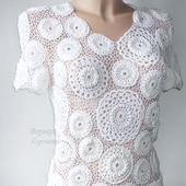 Белая вязаная  блузка