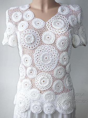 Белая вязаная  блузка ручной работы на заказ