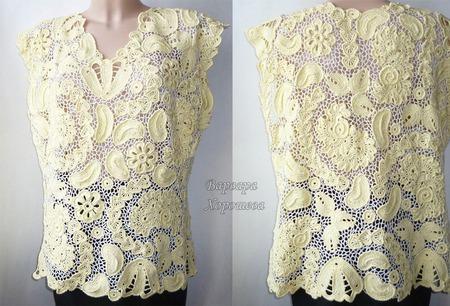 Кружевная вязаная блузка ручной работы на заказ