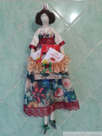 Кукла с коробочкой для чая ручной работы на заказ