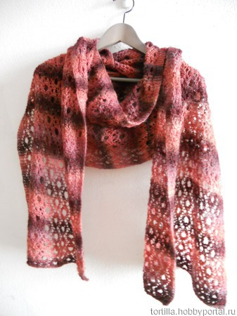 "Вязаный шарф с ""дырками"" ручной работы на заказ"