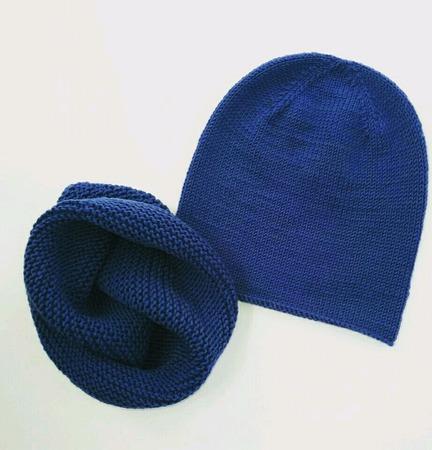 Комплект шапка бини и снуд меринос ручной работы на заказ