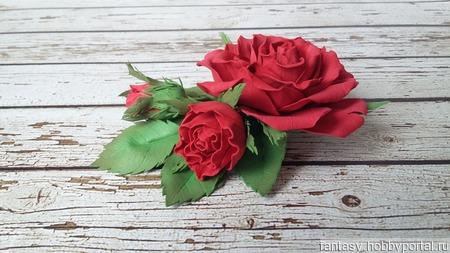 Брошь с розой ручной работы на заказ