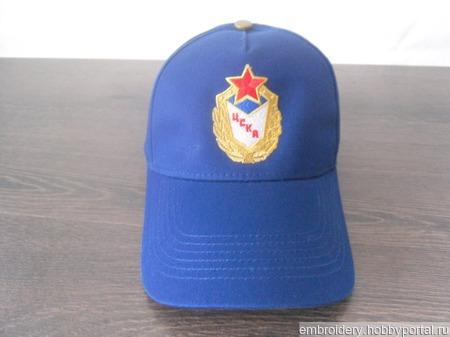 Бейсболка с вышивкой ЦСКА ручной работы на заказ