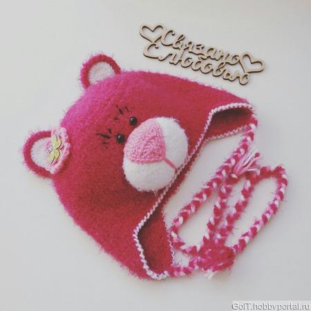 Шапочка Мишка для девочки ручной работы на заказ