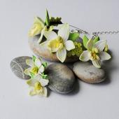 """Браслет и серьги """"цветы ванили"""", полимерная глина"""