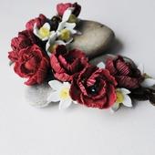 """Браслет из полимерной глины """"пионы и нарциссы"""""""