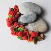 """Браслет """"ветка малины"""" из полимерной глины"""