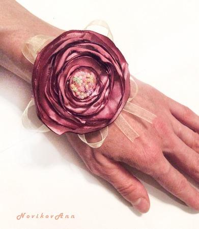 """Браслет с цветком """"Розовый шик"""" ручной работы на заказ"""