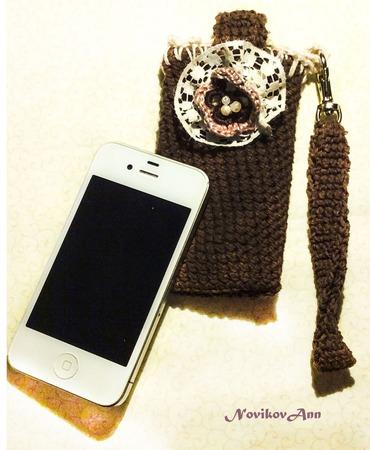 Чехол для мобильного телефона крючком ручной работы на заказ
