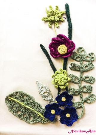 Цветы и листья, вязаные крючком для декора ручной работы на заказ