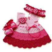 Комплект: Платье, повязка и царапки для новорожденной
