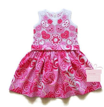 Платье из хлопка для девочки Розовые леденцы ручной работы на заказ