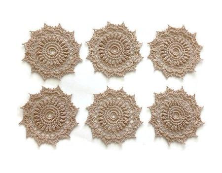 Набор объемных салфеток - подстаканников вязаных из хлопка ручной работы на заказ