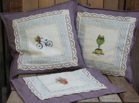 Подушки интерьерные Лаванда в стиле Прованс ручной работы на заказ