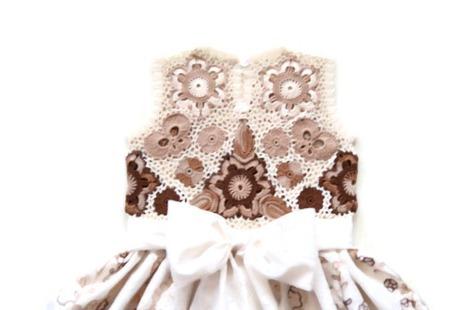 Платье из хлопка для девочки Белый шоколад ручной работы на заказ