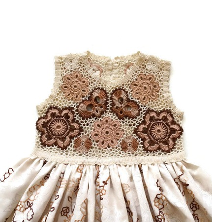 Платье из хлопка для девочки Белый шоколад, вариант 3 ручной работы на заказ