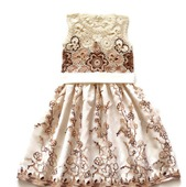 Платье из хлопка для девочки белый шоколад, вариант 2
