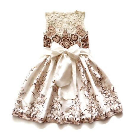 Платье из хлопка для девочки белый шоколад, вариант 2 ручной работы на заказ
