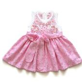 Комплект Платье и Панамка из хлопка для новорожденной девочки Цветочки