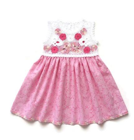 Платье из хлопка для девочки Бабочки ручной работы на заказ