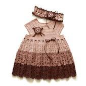 Платье вязаное крючком из хлопка для девочки Три шоколада