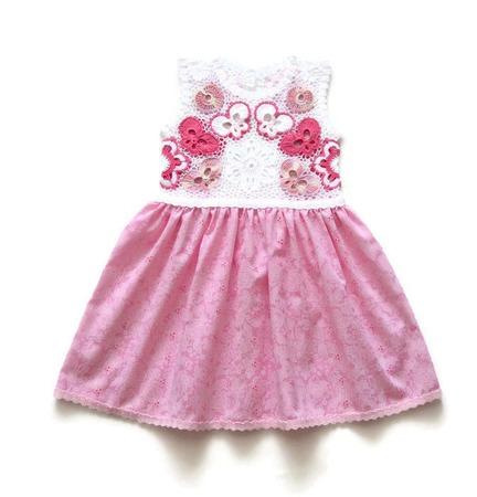 Комплект: платье и панамка из хлопка для девочки Бабочки ручной работы на заказ