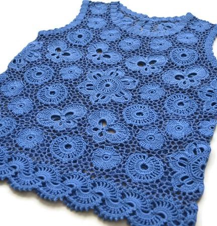 Топ вязаный из хлопка для девочки Голубая лагуна ручной работы на заказ