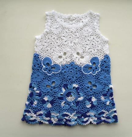 2f0c13d1c06 Платье из хлопка для новорожденной девочки Гжель – купить в интернет ...