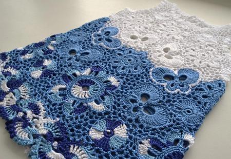 Платье из хлопка для новорожденной девочки Гжель ручной работы на заказ