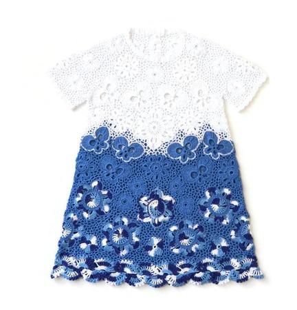 Платье из хлопка для девочки Гжель с рукавчиками ручной работы на заказ