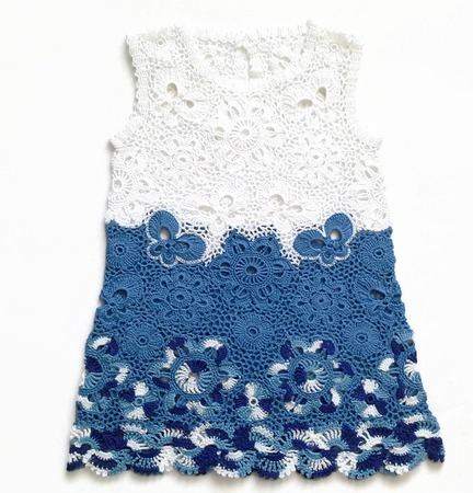 Платье и шапочка из хлопка для девочки Гжель ручной работы на заказ