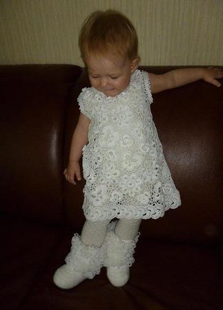Платье из хлопка для девочки Белоснежное ручной работы на заказ