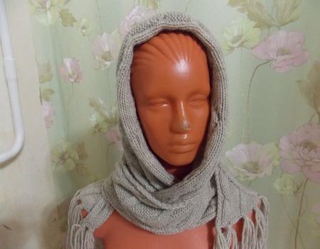 Вязаный шарф-снуд-капюшон ручной работы на заказ