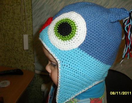 Вязаная шапочка-мордочка ручной работы на заказ