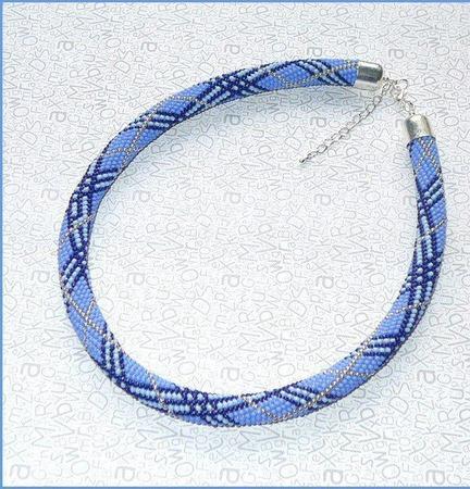 """Колье-жгут из бисера """"Барберри"""" (синий) ручной работы на заказ"""